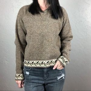 Woolrich Brown and Green Wool Sweater